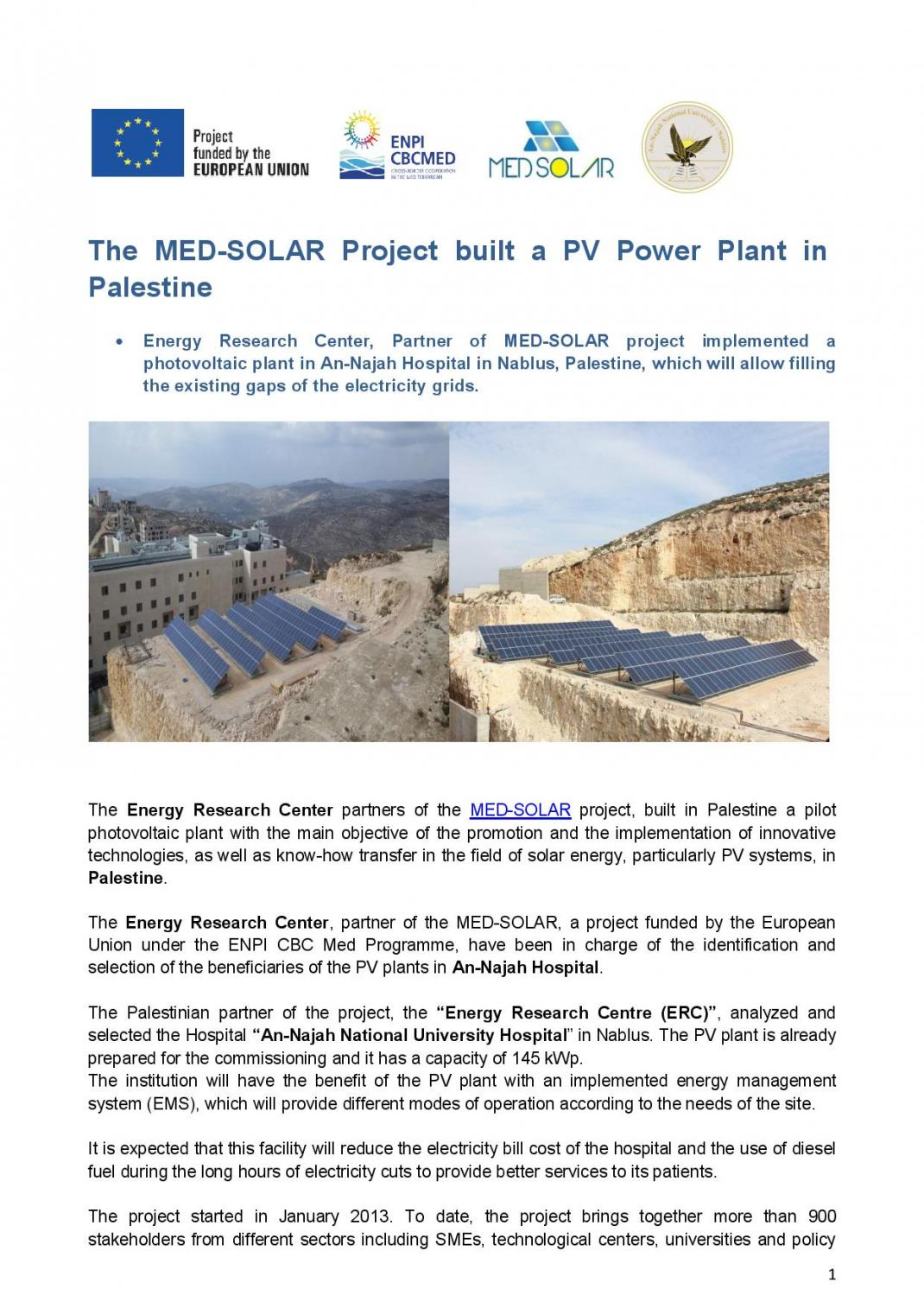 The MED-SOLAR Project built a PV Power Plant in Palestine